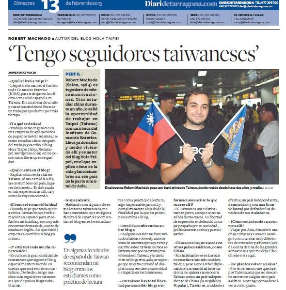 Entrevista en el Diari de Tarragona