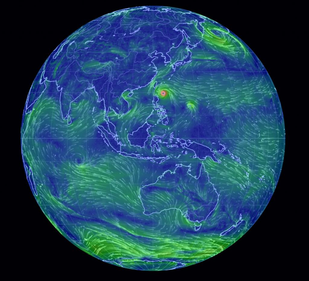 Imagen de un mapa de vientos donde se ve un tifón a punto de alcanzar Taiwán
